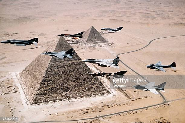 US and Egyptian Aircraft Over Pyramids