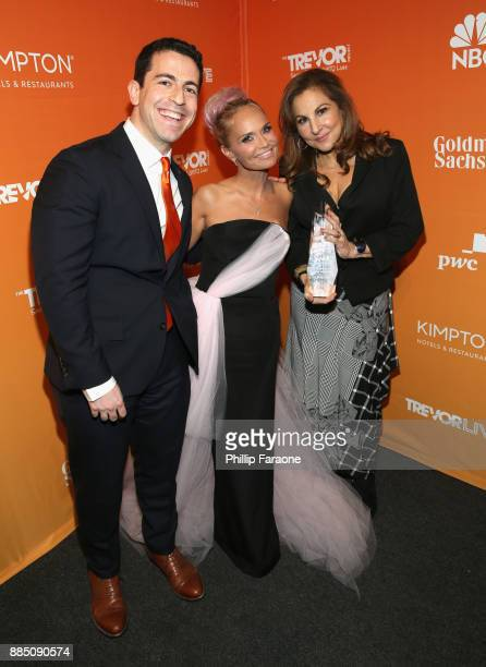 CEO and Executive Director at The Trevor Project Amit Paley Kristin Chenoweth and Kathy Najimy pose with the Icon Award during The Trevor Project's...