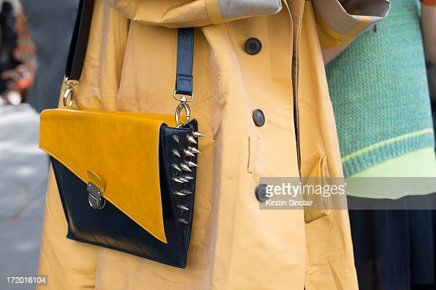 DJ MC and Fashion blogger Peter Xu wears a studded bag on day 4 of Paris Collections Men on June 29 2013 in Paris France