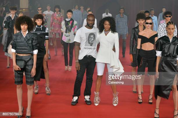 DJ and fashion designer Virgil Abloh with supermodel Naomi Campbell walking the runway at the Offwhite Spring Summer 2018 fashion show during Paris...