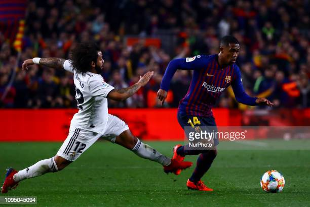 and FC Barcelona's forward Malcom during semifinal of spanish King Cup frist leg match between FC Barcelona and Real Madrid at Nou Camp Stadium on...
