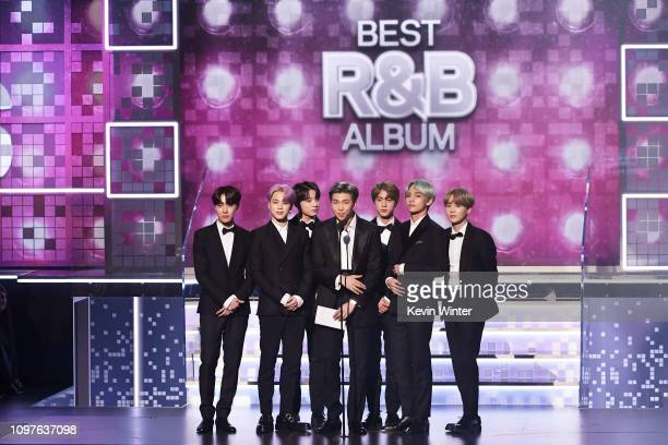 and fellow BTS members speak onstage during the 61st Annual GRAMMY Awards at Staples Center on February 10 2019 in Los Angeles California