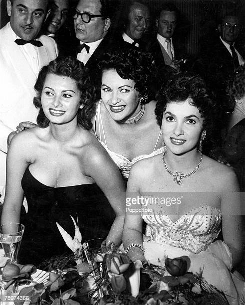 TV and Films 28th June 1954 Berlin Germany This photograph taken during the Ball of Stars shows a trio of glamorous wellknown cinema actresses LR...