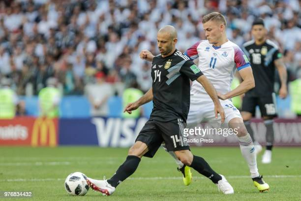 MASCHERANO and FINNBOGASON during match between Argentina and Iceland valid for the first round of Group D of the 2018 World Cup held at the Spartak...