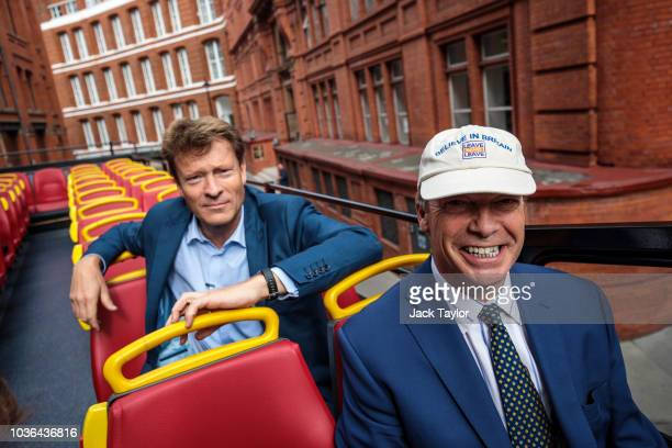A proBrexit 'Leave Means Leave' campaign bus drives through Westminster on September 20 2018 in London England The political campaign group launch a...