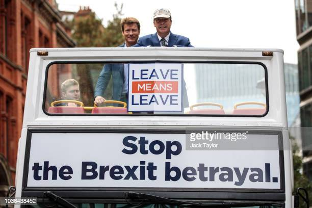 MEP and former leader of the UK Independence Party Nigel Farage and businessman Richard Tice prepare to ride the proBrexit 'Leave Means Leave'...
