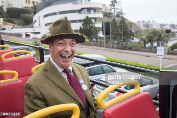 MEP and former leader of the UK Independence Party Nigel Farage travels on the proBrexit 'Leave Means Leave' battle bus ahead of the 'Leave Means...