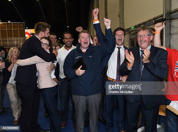 MP and former Northern Ireland Finance Minister Sammy Wilson leads celebrations for the LEAVE campaign at the EU referendum count on June 24 2016 in...
