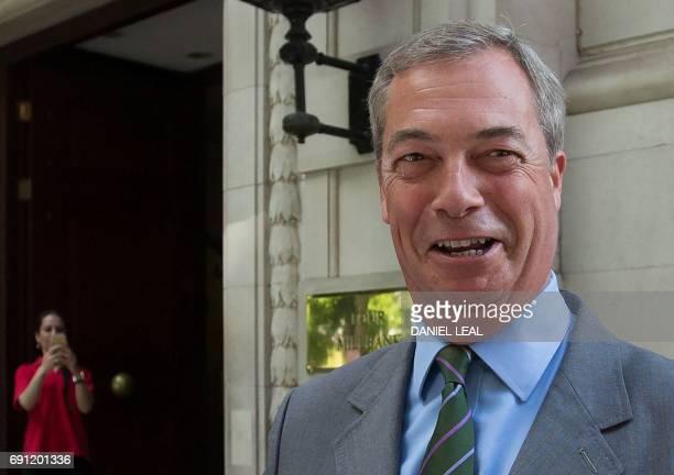 And former UKIP leader, Nigel Farage gestures in Westminster in central London on June 1, 2017. British politician Nigel Farage on June 1 dismissed a...