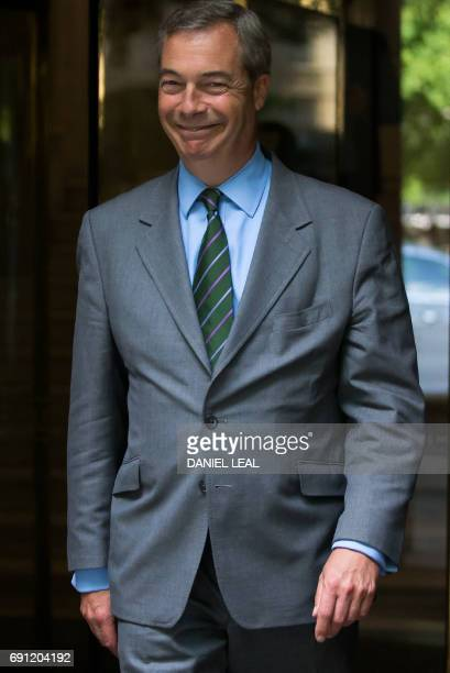 MEP and former UKIP leader Nigel Farage gestures in Westminster in central London on June 1 2017 British politician Nigel Farage on June 1 dismissed...