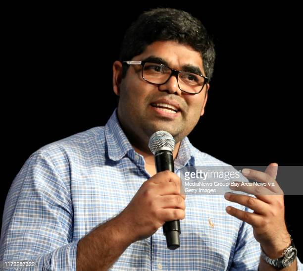 And Founder Ahmad Wani of One Concern speaks during a panel discussion at the Silicon Valley Leadership Group annual luncheon at the Santa Clara...