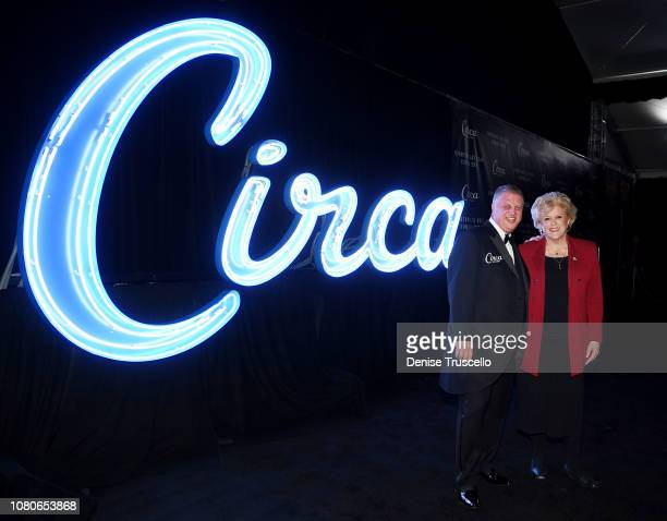 CEO and Founder Circa Resort Casino Derek Stevens and Las Vegas Mayor Carolyn Goodman pose for a photo at the debut of new Casino Resort Circa in...