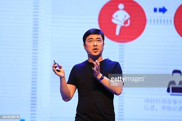 CEO and founder Jason Huang delivers a speech during the International Conference of Experience Design 2016 on July 1 2016 in Beijing China Themed...