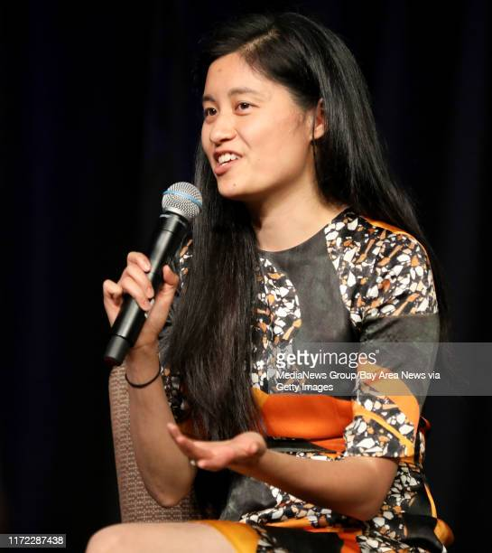 CEO and Founder Julia Hu of Lark speaks during a panel discussion at the Silicon Valley Leadership Group annual luncheon at the Santa Clara...