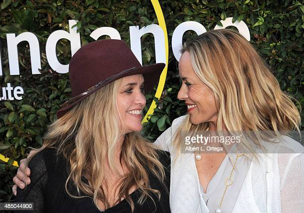 CEO and founder of The Communication Group Clare Munn and Maria Bello arrive for the 2015 Sundance Institute celebration benefit held at 3LABS on...
