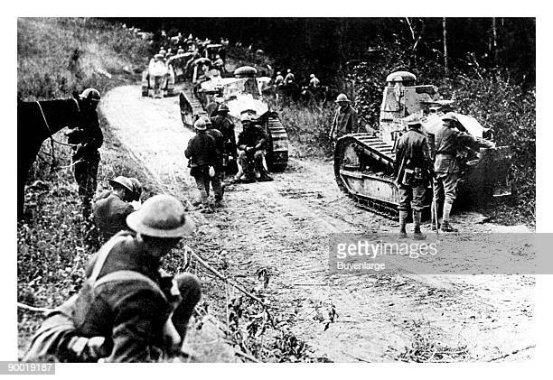 And French troops with Renault FT light tanks, World War I, circa 1918.