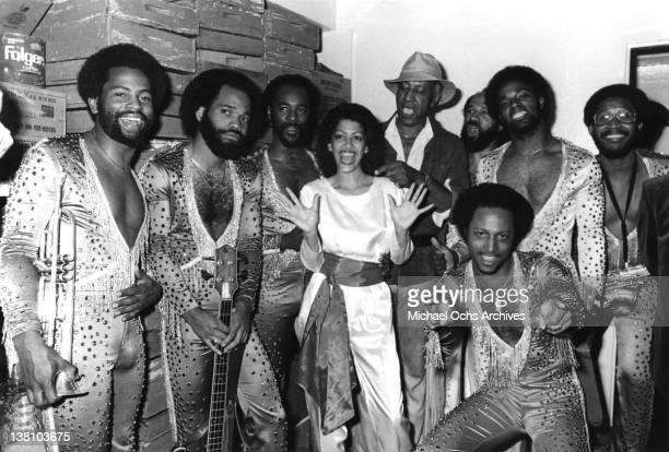 B and funk band Con Funk Shun are joined by their percussionist Sheila Escovedo and actor Raymond St Jacques backstage at the Hollywood Palladium on...