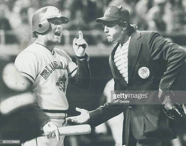 And Furthermore Jays' Ron Fairly has a few words to say to home plate umpire Steve Palermo after being called out for fan interference Jays led 43 in...
