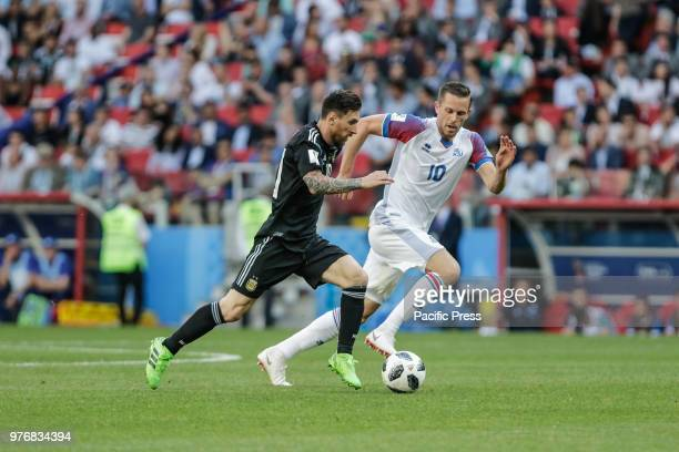 MESSI and G SIGURDSSON during the match between Argentina and Iceland valid for the first round of Group D of the 2018 World Cup held at the Spartak...