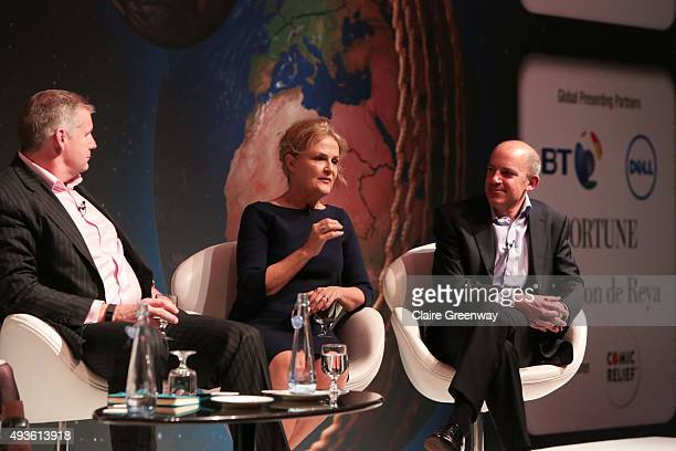 VP and GM Dell UK Tim Griffin CoFounder One Young World Kate Robertson and Director of CSR Jaguar Land Rover Jonathan Garrett participate in a panel...