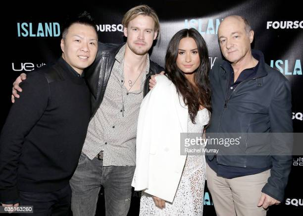 EVP and GM of Island Records Eric Wong Chord Overstreet Demi Lovato and President and CEO of Island Records David Massey attend Island Records...
