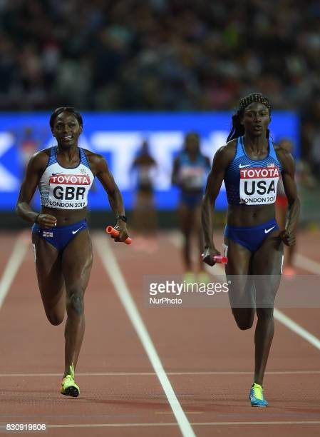 USA and Great Britain compete in in the 4 times 100 meter final in London at the 2017 IAAF World Championships athletics