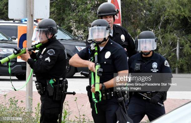 And guard at the entrance of the 110 Freeway at Grand as demonstrators march after the death of George Floyd, a black man who was in police custody...