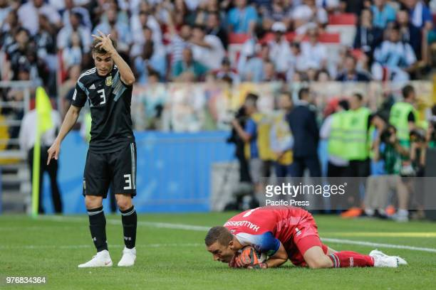 TAGLIAFICO and HALLDORSSON during the match between Argentina and Iceland valid for the first round of group D of the 2018 World Cup held at the...