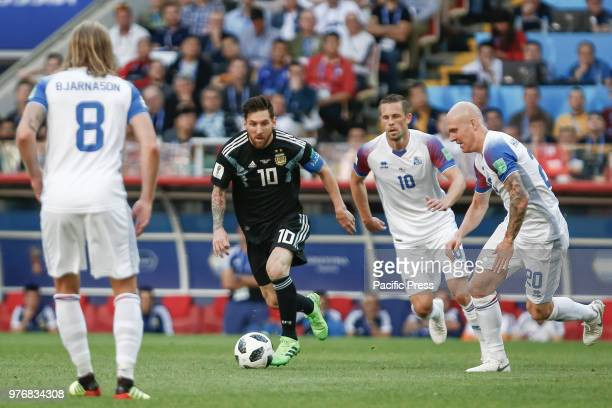 BJARNASON MESSI G SIGURDSSON and HALLFREDSSON during the match between Argentina and Iceland valid for the first round of group D of the 2018 World...