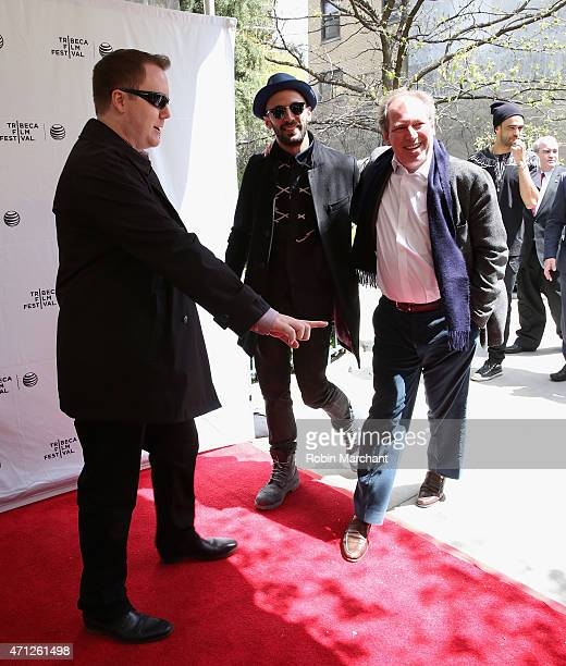 JR and Hans Zimmer attend Tribeca Talks After The MovieLes Bosquets during the 2015 Tribeca Film Festival at SVA Theater on April 26 2015 in New York...