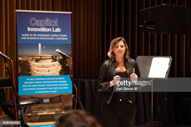 """And Head Of Operations of Select Management Group Alisa Ben speaks at the Capitol Music Group Host """"The Future She Built"""" at Capitol Records Studio..."""
