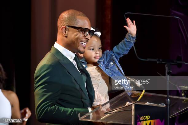 TI and Heiress Diana Harris speak onstage during the 2019 ASCAP Rhythm Soul Music Awards at Regent Beverly Wilshire Hotel on June 20 2019 in Beverly...