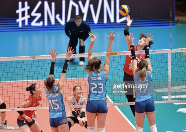 AGNES VICTORIA MICHEL TOSI and HELENA VIDAL of Argentina during FIVB Volleyball Nations League match between Argentina and South Korea at the stadium...