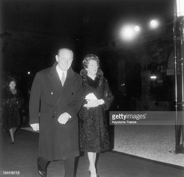 BOURVIL and his wife Jeanne LEFRIQUE going to the reception of arts and literature at the Elysee on December 11 1967