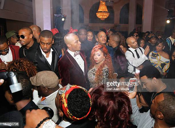 TI and his wife Tiny Harris celebrates with family and friend as GREY GOOSE Vodka hosts Tip Harris' birthday celebration on September 28 2013 in...