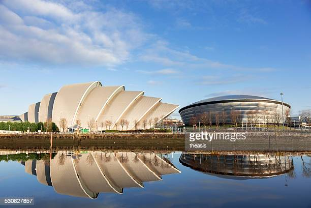secc and hydro buildings on the river clyde, glasgow - clyde auditorium stock pictures, royalty-free photos & images