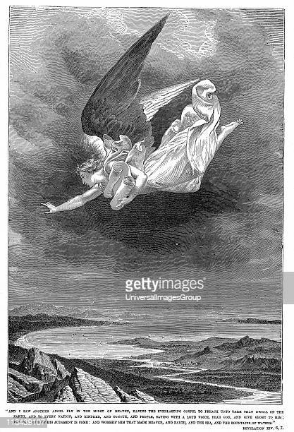 And I saw another angel fly ' Bible Book of Revelation XXIV 67 Wood engraving c1885