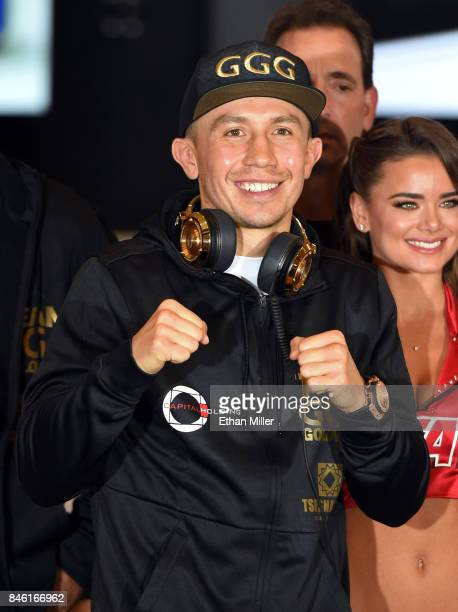 WBC WBA and IBF middleweight champion Gennady Golovkin arrives at MGM Grand Hotel Casino on September 12 2017 in Las Vegas Nevada Golovkin will...