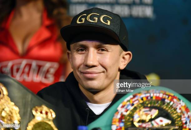 And IBF middleweight champion Gennady Golovkin attends a news conference at MGM Grand Hotel & Casino on September 12, 2017 in Las Vegas, Nevada....