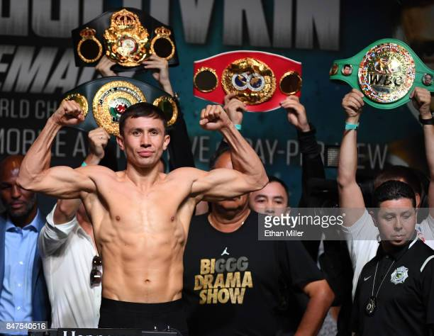 And IBF middleweight champion Gennady Golovkin poses on the scale during his official weigh-in at MGM Grand Garden Arena on September 15, 2017 in Las...