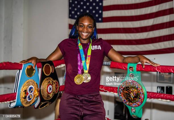 WBA WBC and IBF Middleweight World Champion Claressa Shields poses for the media before her workout at 5th Street Gym on April 4 2019 in Miami...