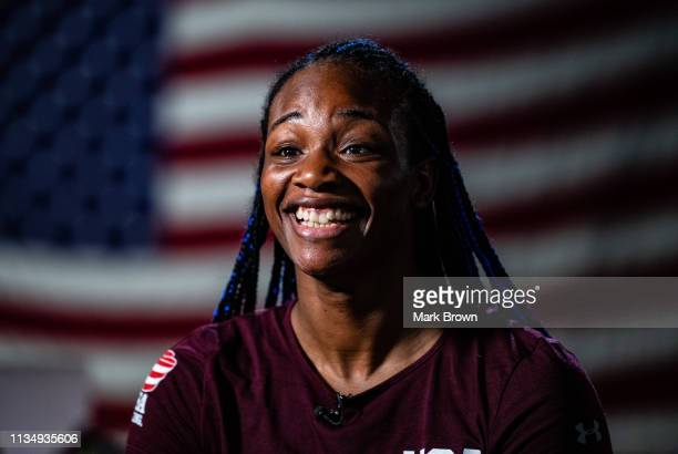 WBA WBC and IBF Middleweight World Champion Claressa Shields sits down with the media before her workout at 5th Street Gym on April 4 2019 in Miami...