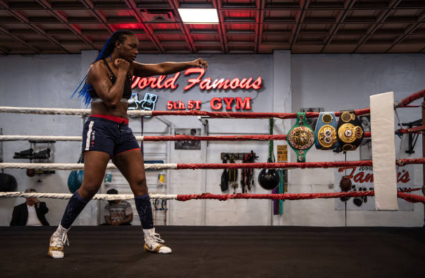 And IBF Middleweight World Champion Claressa Shields works out for the media at 5th Street Gym on April 4, 2019 in Miami, Florida. Shields is...