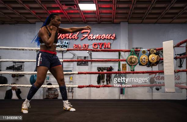 WBA WBC and IBF Middleweight World Champion Claressa Shields works out for the media at 5th Street Gym on April 4 2019 in Miami Florida Shields is...