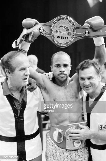 WBC and IBF welterweight title fight between Lloyd Honeyghan and Johnny Bumphus Wembley Conference Centre London England Honeyghan retained his belts...