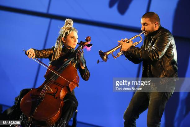 J and Ibrahim Maalouf performs during the '32nd Victoires de la Musique 2017' at Le Zenith on February 10 2017 in Paris France