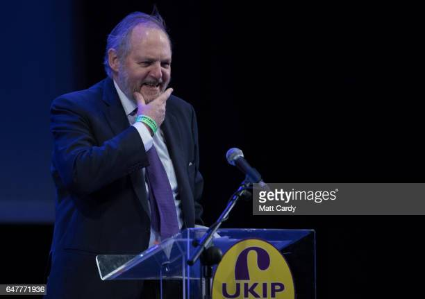 MEP and international trade spokesman William Dartmouth speaks at the UKIP South West regional conference at the Weymouth Pavilion on March 4 2017 in...