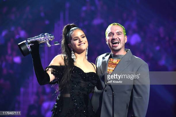 ROSALÍA and J Balvin onstage during the 2019 MTV Video Music Awards at Prudential Center on August 26 2019 in Newark New Jersey