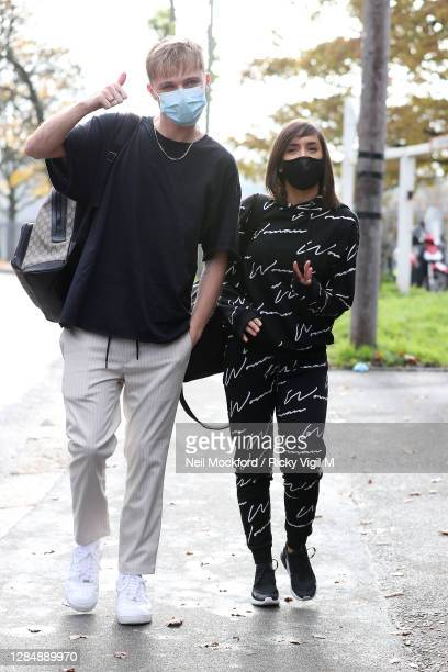 And Janette Manrara seen arriving at a dance studio for Strictly Come Dancing rehearsals on November 10, 2020 in London, England.