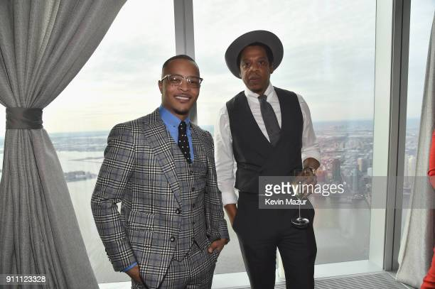 I and JayZ attend Roc Nation THE BRUNCH at One World Observatory on January 27 2018 in New York City